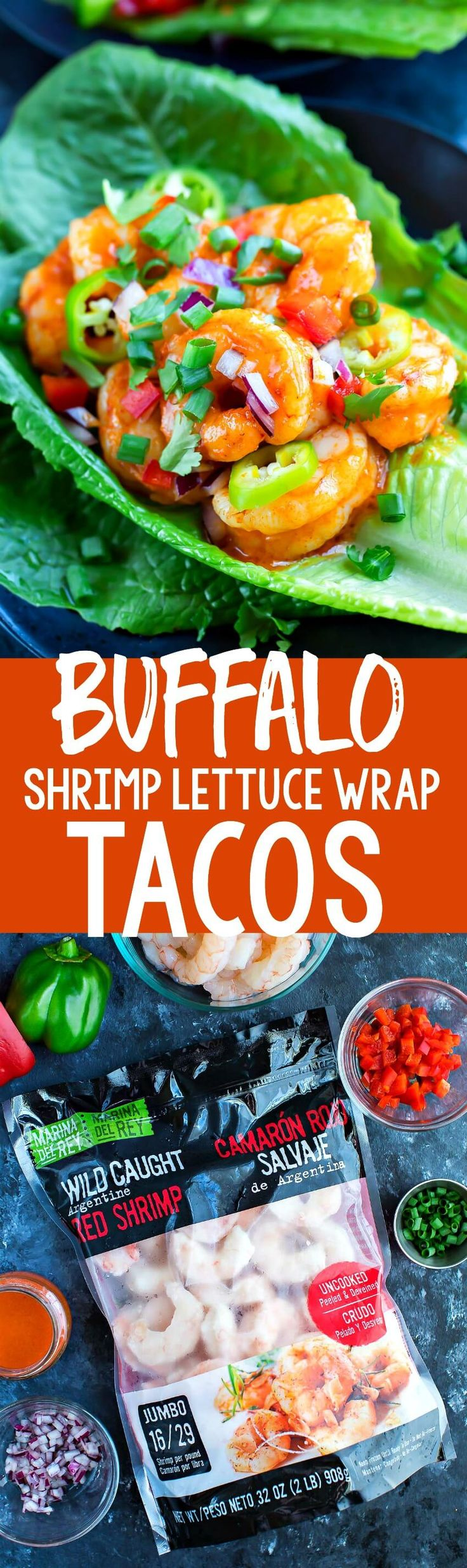 These spicy Buffalo Shrimp Lettuce Wrap Tacos are fast, flavorful, and ready to Taco Tuesday your face off! Each tasty taco is gluten-free, paleo and Whole30 friendly too! Sponsored by @MDRFoods