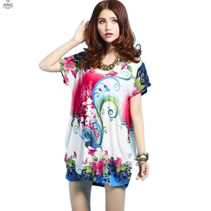 Musim panas gaya longgar wanita ukuran besar gaun, Sutra O-Neck lengan pendek Mini dress, Dicetak mewah berlian gaun kasual untuk wanita(China (Mainland))