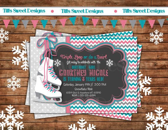 Ice Skate Invitation  Ice Skating Party  by TiffsSweetDesigns, $10.50