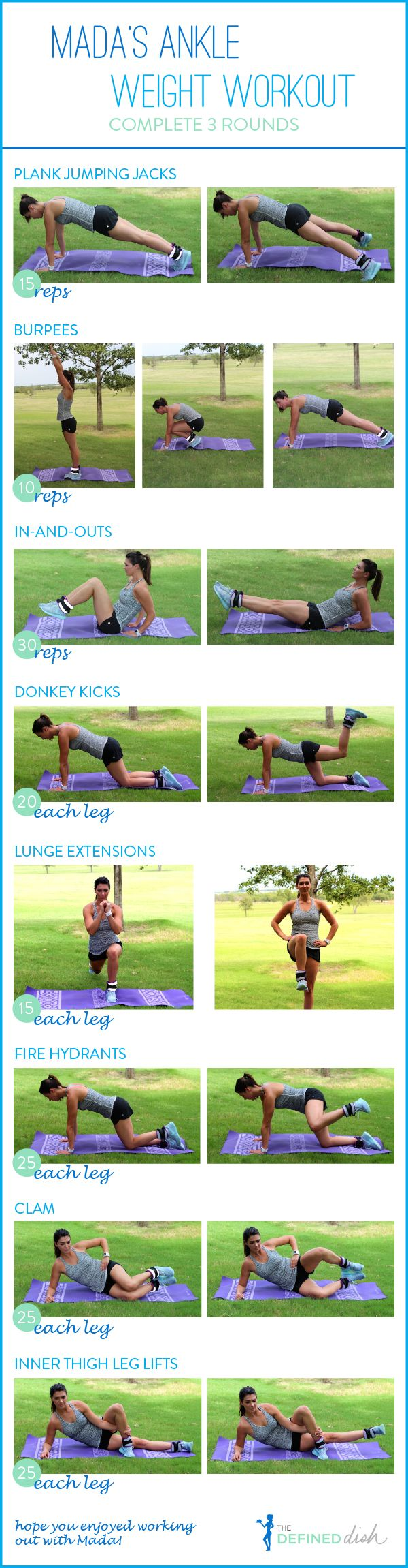 Mada's Ankle Weight Workout via The Defined Dish  Online Workout / Quick Workout / Abs / Legs / Inner Thigh