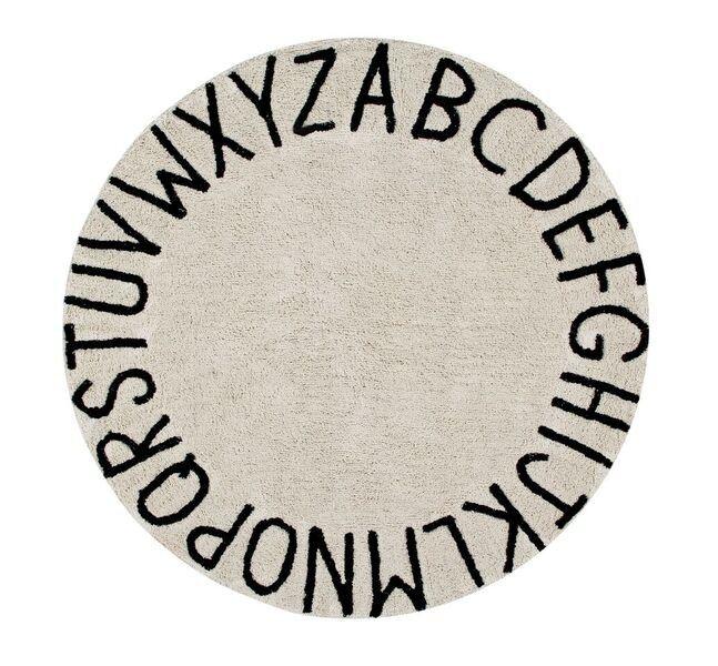 Perfect Kinderteppich rund mit Buchstaben Round ABC beige schwarz cm