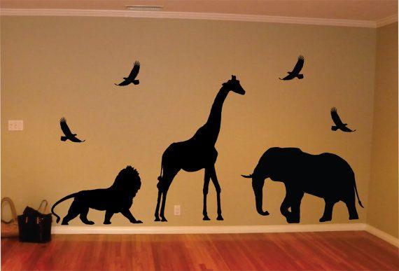 Safari Animals Giraffe Lion Elephant Birds  Decal Sticker Wall Vinyl Art