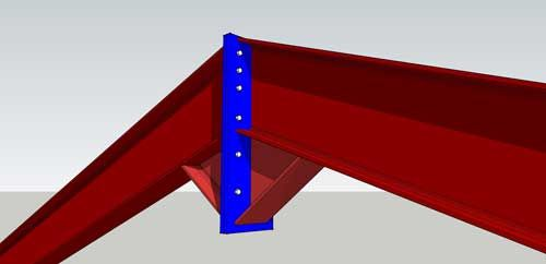 Steel Hangar Portal Frame Roof Eaves Beam Detail This CAD dwg drawing of aSteel Hangar Portal Frame Roof Eaves Beam Detail can be used with almost any steel frame hangar design drawing to show proper installation of the edge eaves beam in correlation with the roof galvanized z-purlins, roof sandwich paneling system and edge rain water