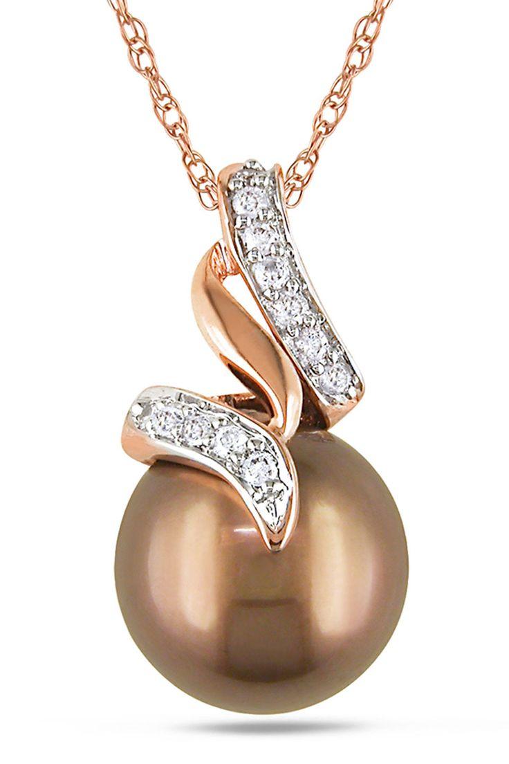 Tahitian Pearl 9.5-10mm Tahitian Pearl & 0.1Ct Pendant In 10k Pink Gold