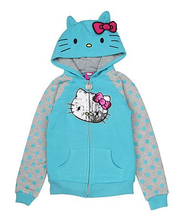 This Turquoise Hello Kitty Polka Dot Zip-Up Hoodie - Toddler & Girls is perfect! #zulilyfinds