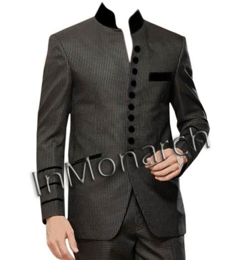 Nehru collar front open suit made in pure polyester fabric. It has 10 buttons in front out of which 4 are non working and 6 are working buttons made from black velvet fabric. The same black velvet fabric is used to make the chest pocket, nehru collar and the bones of bottom two flap pockets. We are using various fabrics for this Nehru suit. Sold as a
