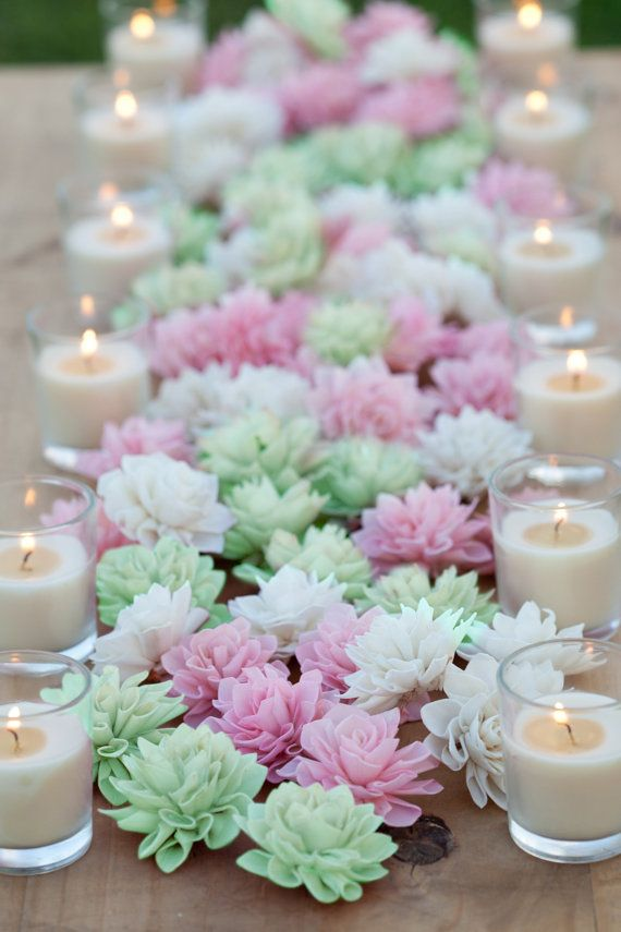 These 3 and 4 cream, blush and mint wooden flowers are perfect for wedding, bridal shower or baby shower decor. Resembling a blooming Dahlia,