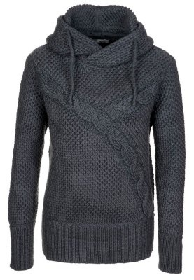 Wool hooded sweater with two diagonal cables.