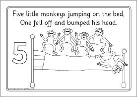Five Little Monkeys Jumping on the Bed colouring sheets (SB9278) - SparkleBox