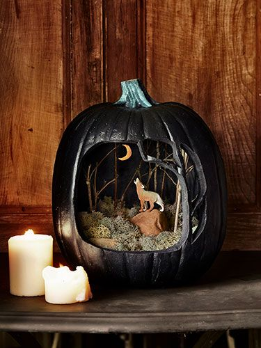 """DIY Pumpkin Diorama ... """"Can't see the forest for the trees"""" This craft pairs materials from your own yard with an 11¼""""W x 14""""H black Funkin..."""