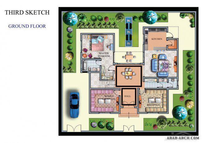 سكاتشات فيلا في طرابلس مساحة الارض 300 م مكتب أركان للتصاميم الهندسية و الديكورات House Design Kitchen Flooring Design