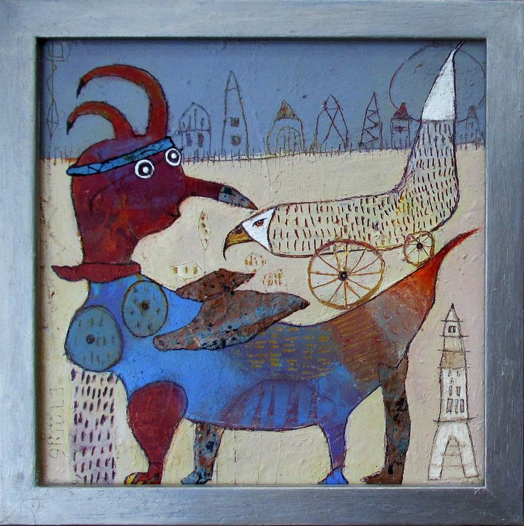 Elke Trittel acrylic,collage on board 25x25cm