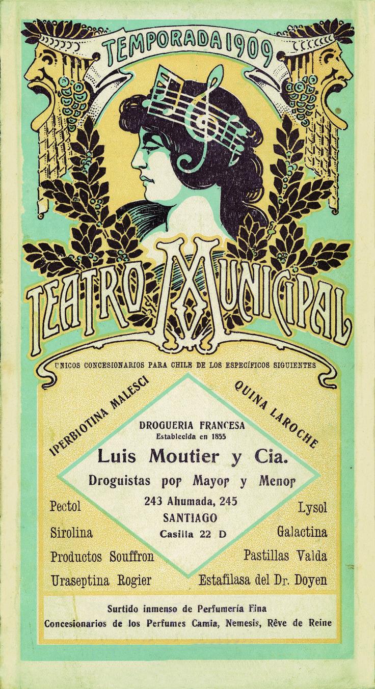 Programa de Sala, Temporada de 1909 Colección de Programas de Sala, Centro de Documentación de las Artes Escénicas del Teatro Municipal de Santiago.