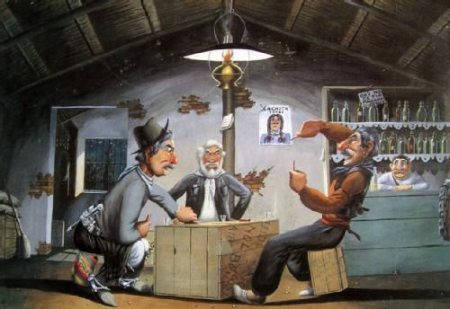 """Florencio Molina Campos """"El truco"""" - Hola amigos hoy les dejo una pic del pintor Molina Campos, ya que se acerca el 9 de julio, día de la independencia, este pintor se caracterizaba por pintar al gaucho en forma caricaturezca. Me gustan su pinturas , pintó por el año 1930 los almanaques de Alpargatas conocidos como """"la pinacoteca de los pobres"""", amigo de Walt Disney colaboró con el en algunos trabajos como el burrito volador para los estudios Disney Los gauchos con sus cachetes colorados y…"""