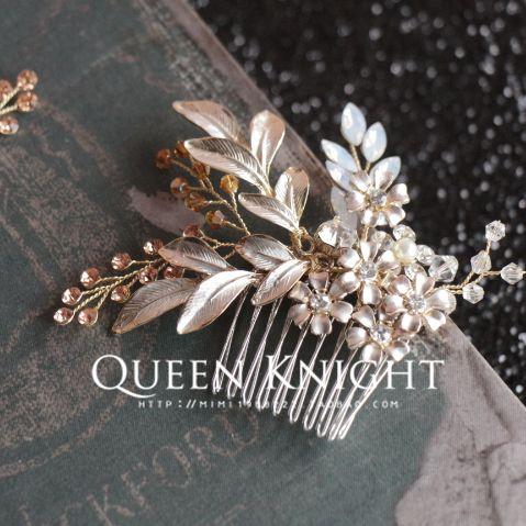 Шампанское на основе ручной лозы цветущие цветы цветы вставить гребень гребень волос свадебный подружки невесты - Taobao