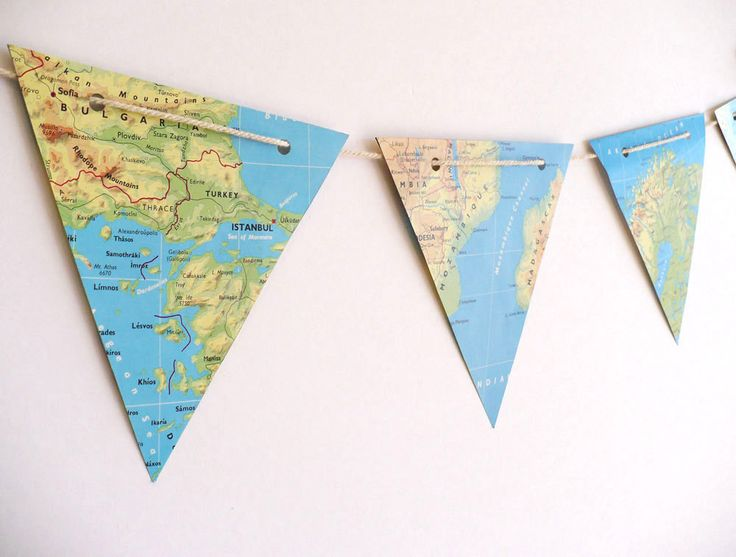 WORLD MAP paper bunting, atlas maps bunting - vintage paper bunting, party decoration, bright colours via Etsy.