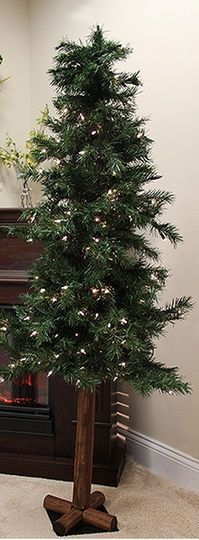 8 Ft. Pre-Lit Traditional Woodland Alpine Artificial Christmas Tree, Clear Lights