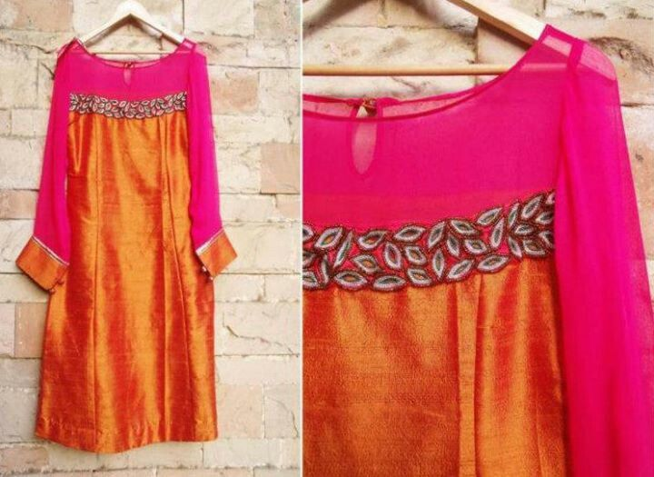 magenta orange raw silk kurta