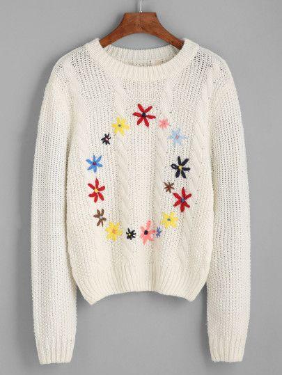 Jersey con bordado floral-Sheinside