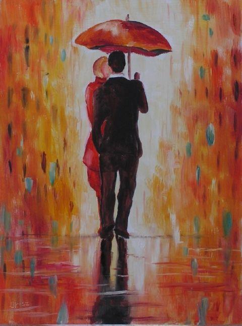 Irisz3 - Találkozás az esőben-olajfestmény, Képzőművészet , Festmény, Olajfestmény, Meska #oil #painting #rendezvous #rain #umbrella