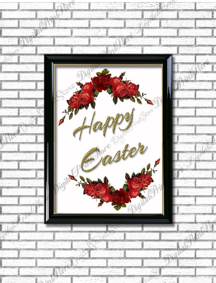 Happy Easter Quote Poster, Typography Art, Calligraphy Hand Written, Comercial Use by DigitalPrintStore on Etsy