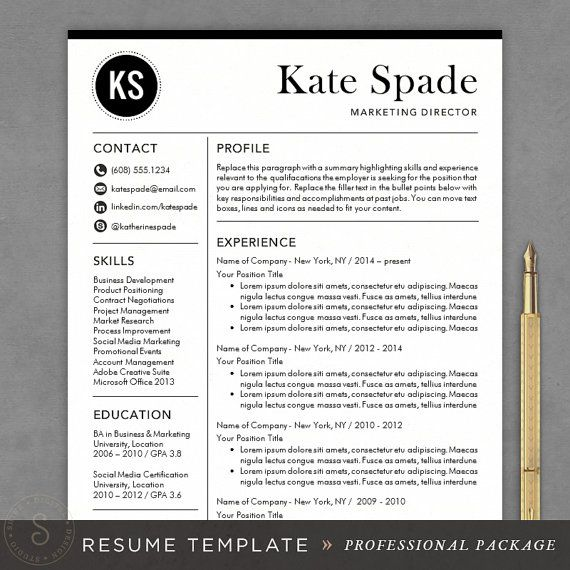 professional resume template cv template mac or pc for word creative modern design cover letter instant download the kate