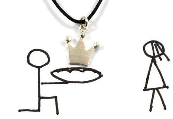 Crown necklace sterling silver pendant crown charm by Akatergasto