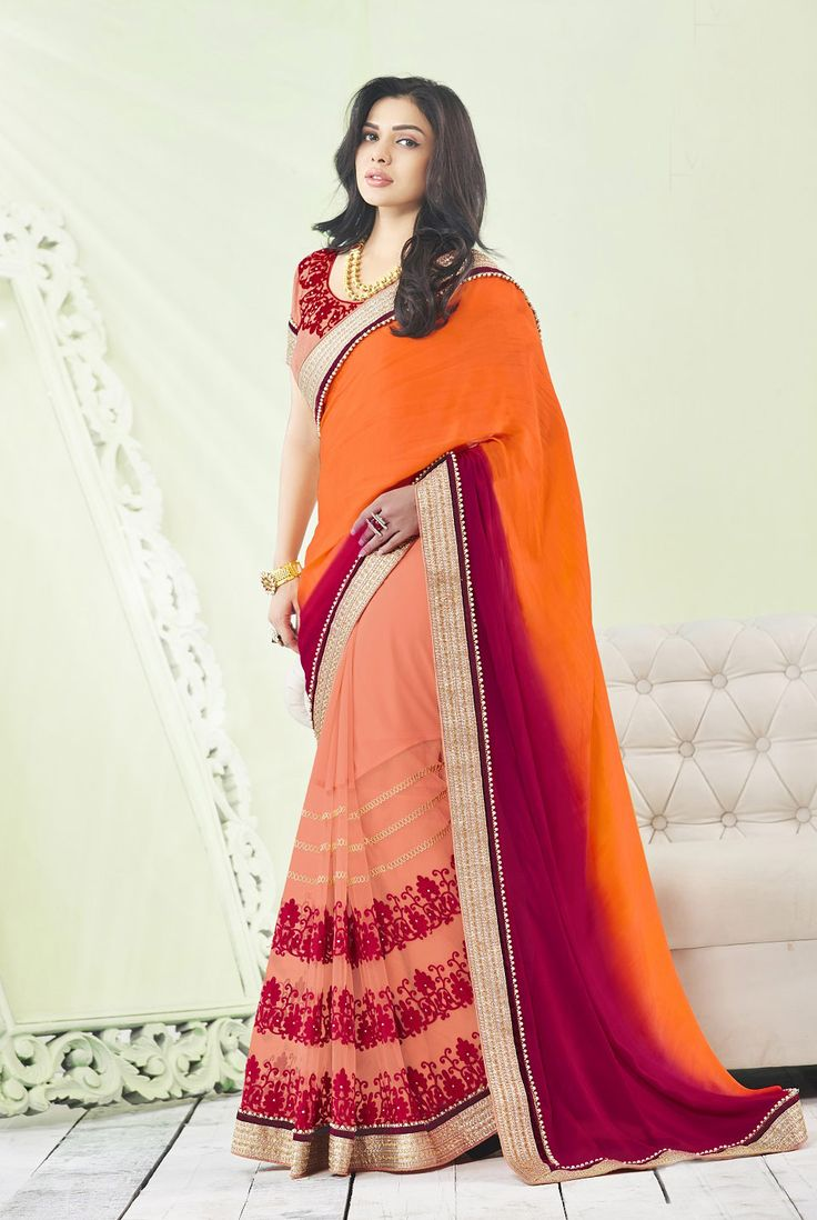 Buy Online Designer Sarees, shari, Ethnic sarees, Peach and Orange Color, Saree, sari, casual wear, ceremonial wear, partywear, kitty party wear, for women. We have large range of Designer Georgette Sarees in our website with the best pricing and unique designs shipping to (UK, USA, India, Germany, UAE, Canada, Singapore, Australia, Mauritius, New Zealand) world wide.