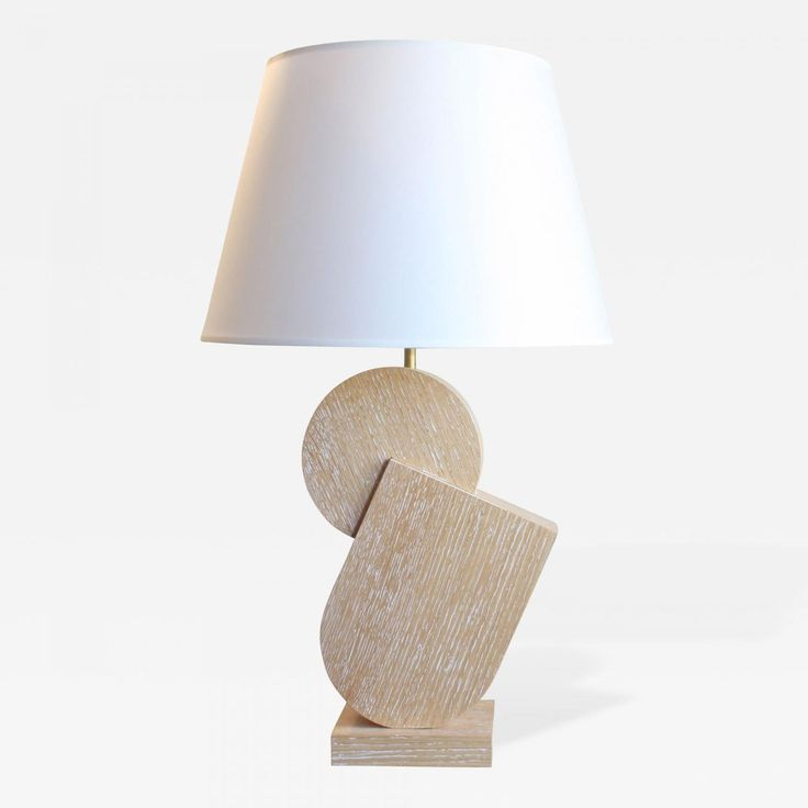 "Kimille  Taylor - Natural Cerused Oak Table Lamps by Kimille Taylor ""Pierre"" offered by Valerie Goodman Gallery on InCollect"