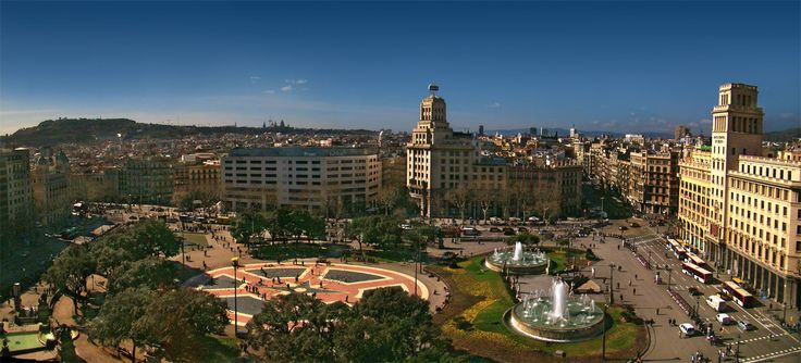"""#Plaça de #Catalunya ( #Catalonia #Square""""; sometimes referred to as #PlazadeCataluña, its Spanish name) is a large square in central #Barcelona that is generally considered to be both its city centre and the place where the old city (#BarriGòtic and #Raval, in #CiutatVella) and the 19th century-built #Eixample meet."""