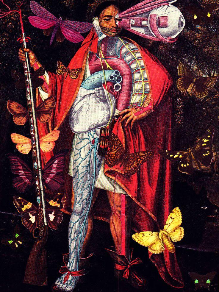 'Native Necrophiliac'  Analog collage art by Dystopian Paper Ballads.  #collage #art #collageart #paperart #analogcollage #handmade #surrealism #anatomy #anatomicalart