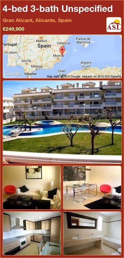 4-bed 3-bath Unspecified in Gran Alicant, Alicante, Spain ►€249,900 #PropertyForSaleInSpain