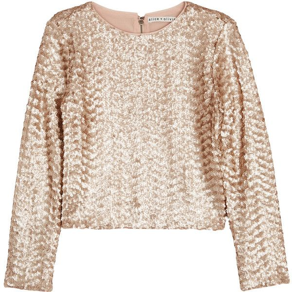 Alice + Olivia Lebell pale gold cropped sequinned top ($465) ❤ liked on Polyvore featuring tops, sequin crop top, pink top, gold sequin top, gold top and cut-out crop tops
