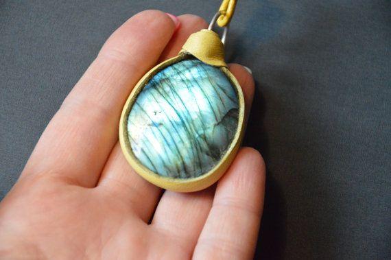 blue green labradorite pendant statement pendant by CopperFinger