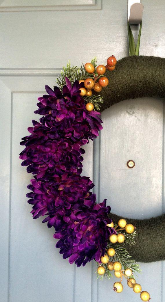 Voordeur krans  garen krans  deur decoratie  door WallflowersbyKerri