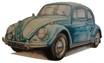 """""""VW Beetle 1965"""" Artwork - contemporary - Drawings And Illustrations - Zatista"""