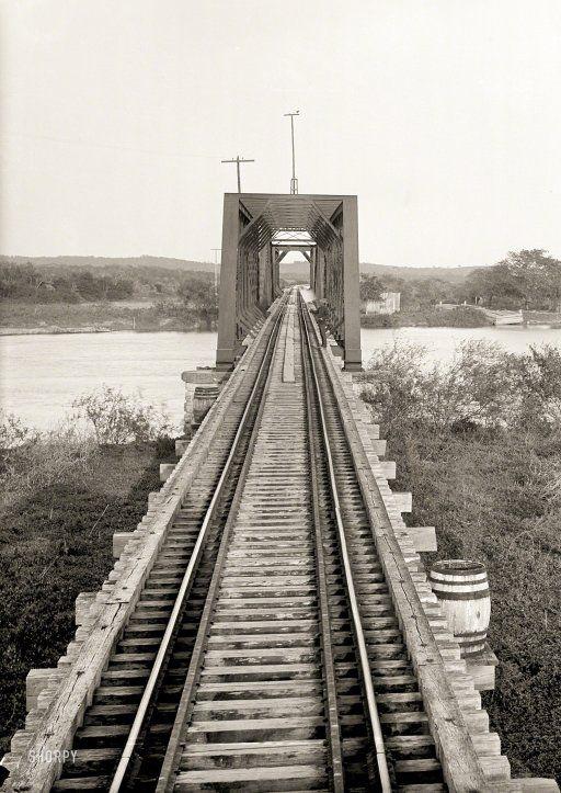 "Tamaulipas state, Mexico, circa 1897. ""Tamesi bridge. Locale based on Catalogue of the W.H. Jackson Views (1898)."" 8x10 inch glass negative."