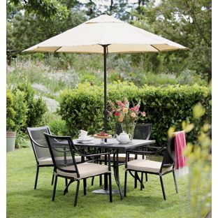 Homebase rimini dining set now garden for Outdoor furniture homebase
