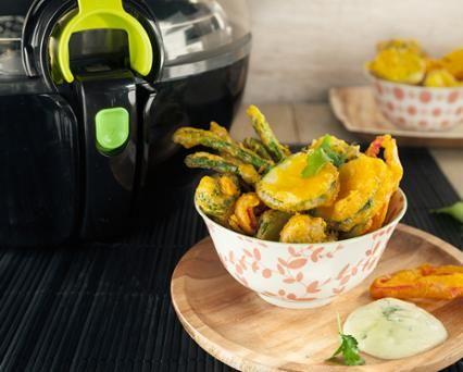 Groente Tempura met kurkuma en koriander- wasabi dip Recept - Tefal
