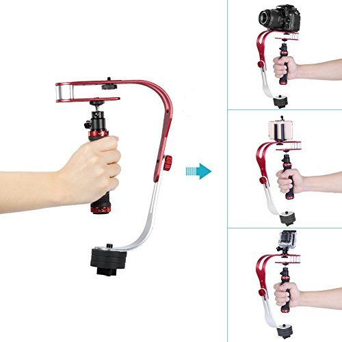 Neewer® Portable and Functional Aluminum Alloy Video Camera Handheld Stabilizer(Red)