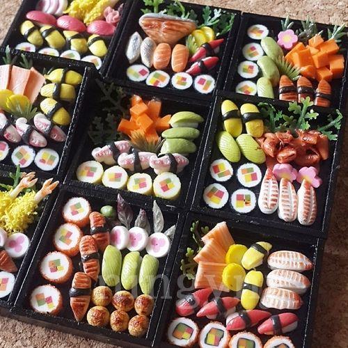 10xDollhouse Miniature Japanese Food Sushi Bento Square Wooden Box WHOLESALE #AllThaiHandmade