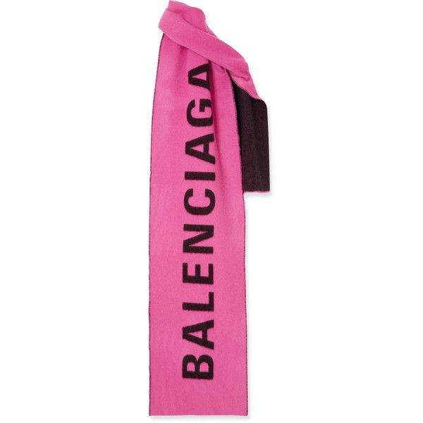 Balenciaga Macro intarsia cashmere and wool-blend scarf (2.405 RON) ❤ liked on Polyvore featuring accessories, scarves, pink, cashmere scarves, pink shawl, logo scarves, cashmere stole and balenciaga
