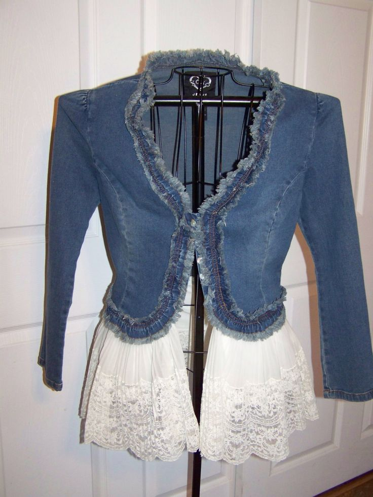 Denim and Lace Upcycled Bohemian, Gypsy,  No tutorial