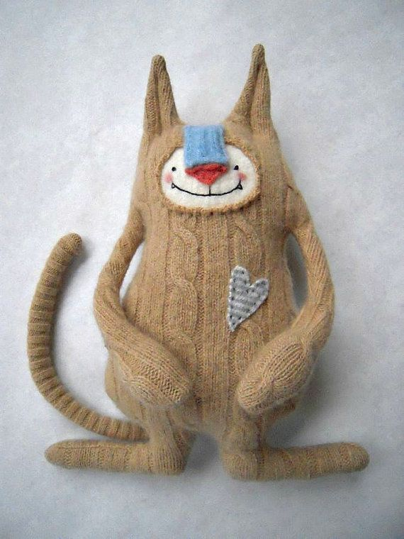 Cashmere Cat Stuffed Animal Oatmeal Colored Upcycled Repurposed Sweater