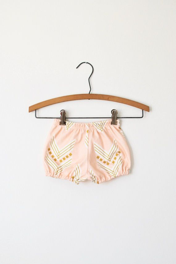 baby organic bloomers in peach chevron, baby bloomers, baby shorts, diaper covers …   – Lana