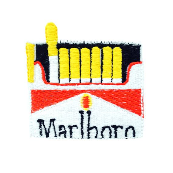 I created this design of malboro cigarettes , just the right size to stitch coming out of a pocket or wherever you like! the patch is 7cm wide and