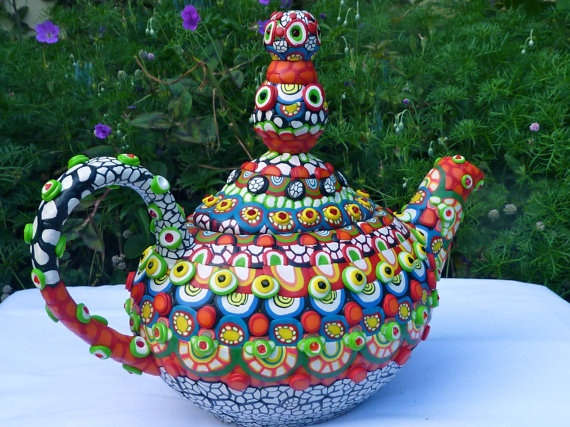 Clay Mosaic Ceramic Teapot  The Real Aladdin's Lamp by CrazieHappy, $135.00Ceramic Teapot, Ceramic Teapots, Teas Time, The Real, Aladdin Lamps, Real Aladdin, Clay Mosaics, Craziehappi, Mosaics Ceramics