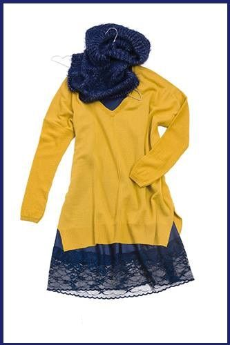Mustard and blue