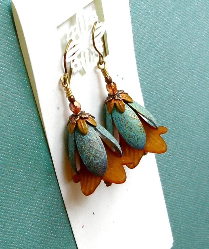 Rustic Autumn Copper  Flower & Turquoise Verdigris Leaf Earrings. $20.00, via Etsy.