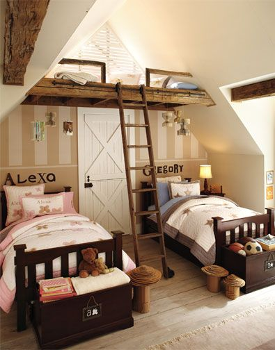 one of the only examples (on PBK, anyway) of boy-girl shared rooms. Even when we move, I guess James and Fiona will share because James doesn't want to have his own room.: Kids Bedrooms, The Loft, Boys Rooms, Shared Rooms, Rooms Ideas, House, Shared Bedrooms, Girls Rooms, Kids Rooms